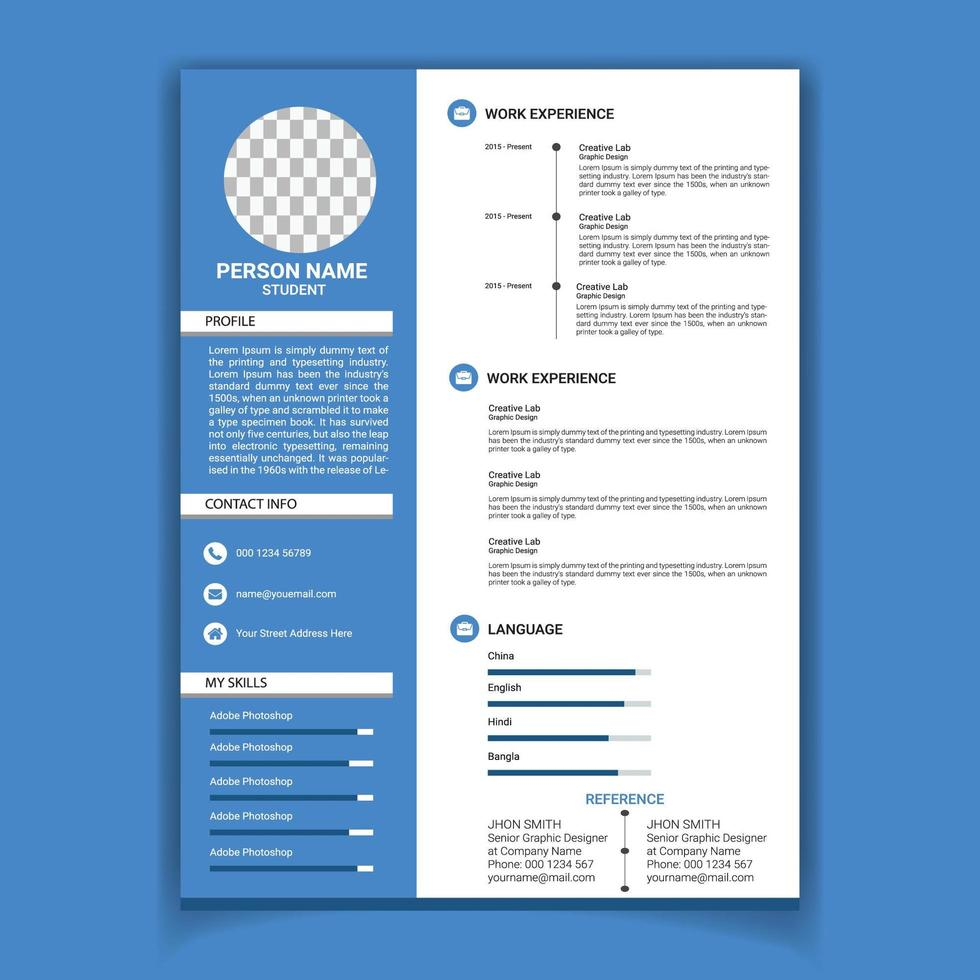 modello di curriculum pulito blu e bianco vettore