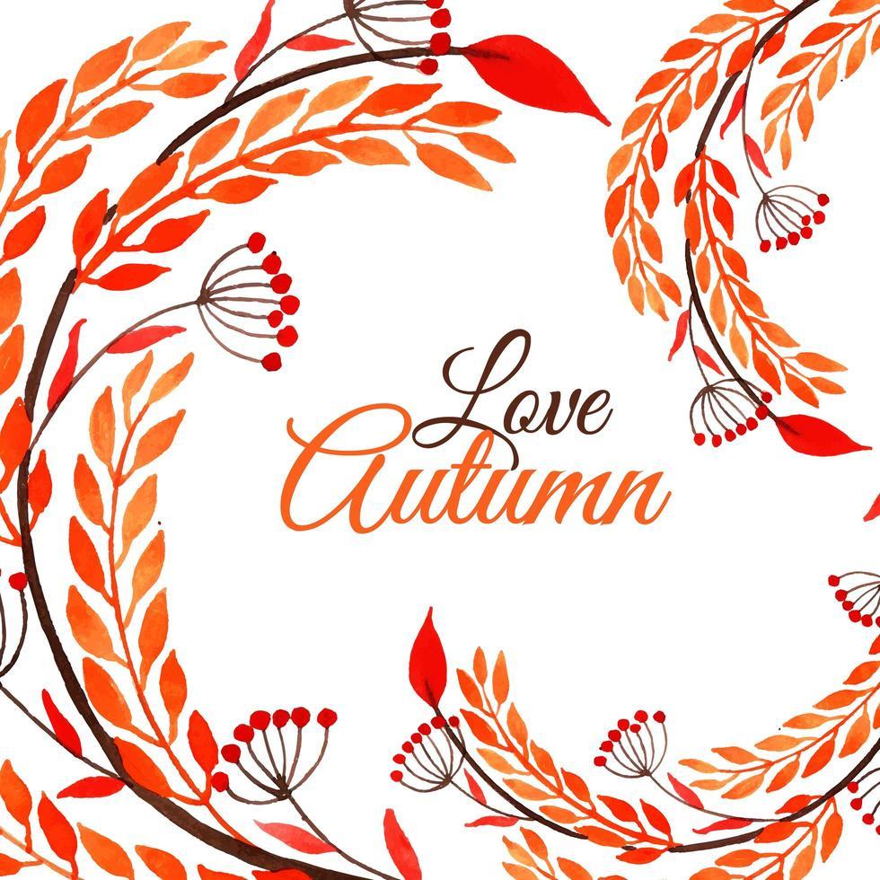 disegno autunno dell'acquerello con fogliame vorticoso vettore