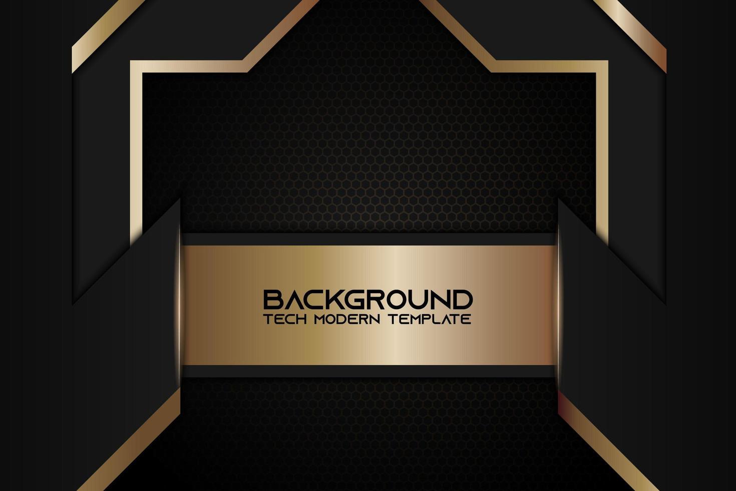 sfondo metallico ad angolo con cornice nera dorata vettore