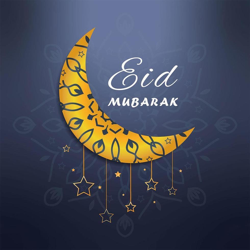 Eid Mubarak sopra la falce di luna vettore