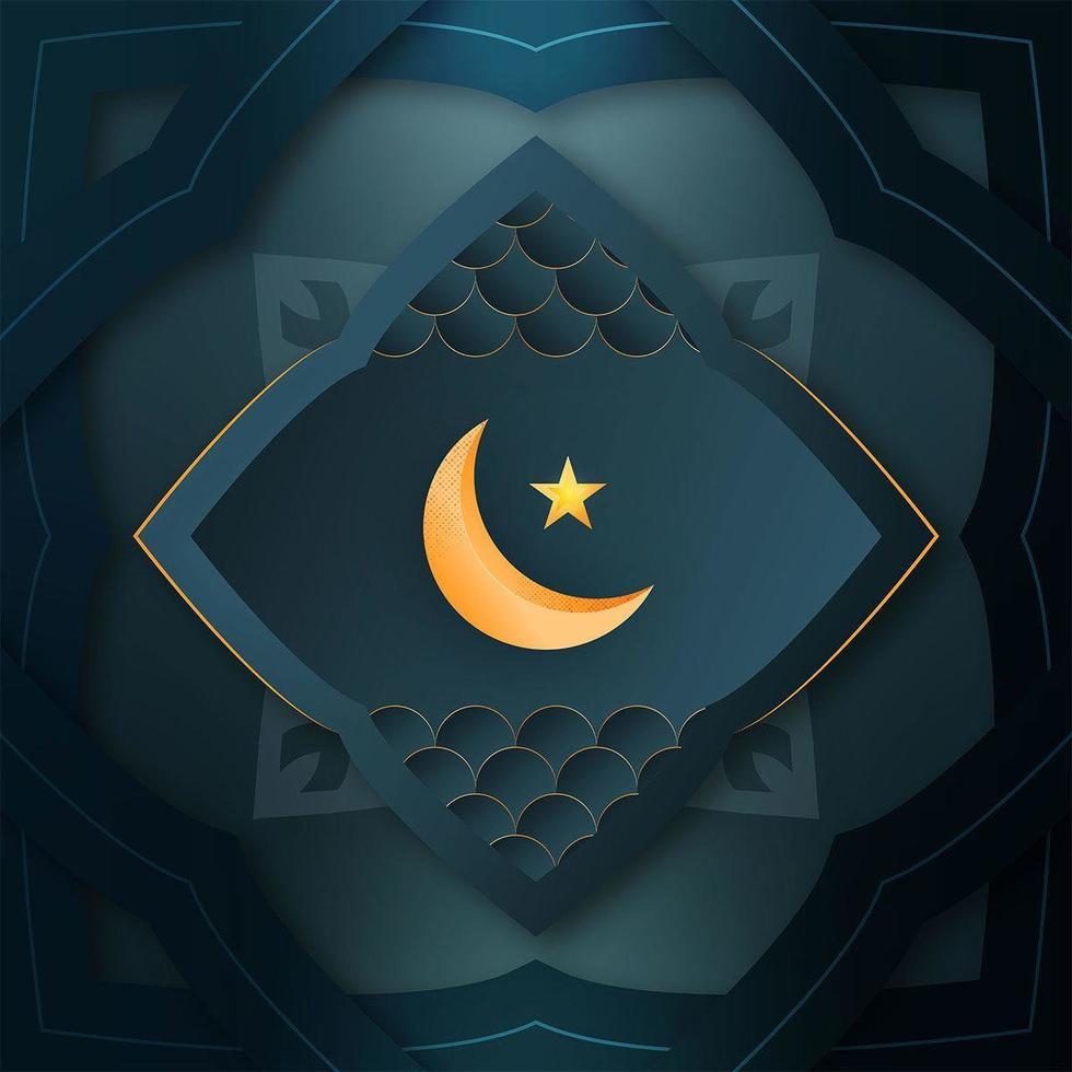 Ramadan Mubarak carta con luna e stella vettore