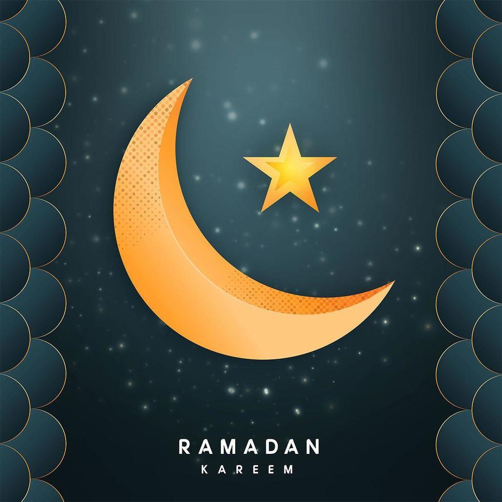 Ramadan Kareem con mezzaluna d'oro e stella vettore