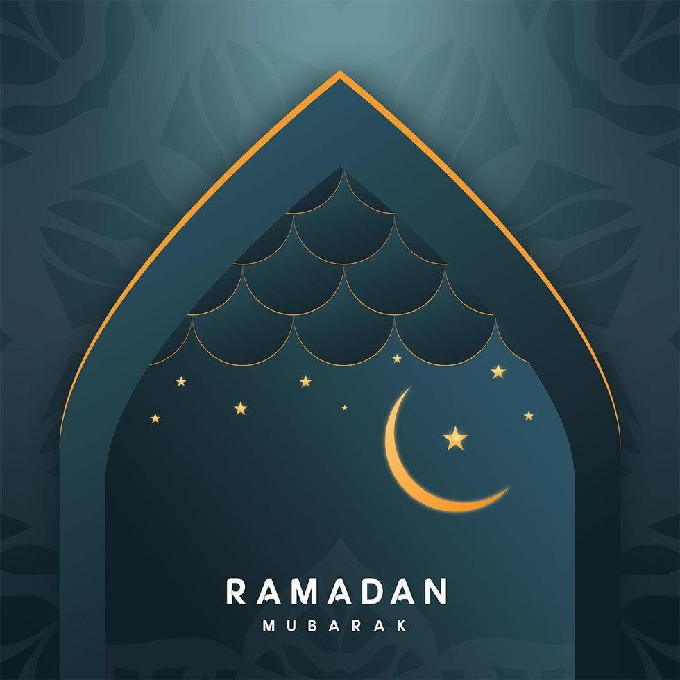 saluti di Ramadan Kareem in arco vettore