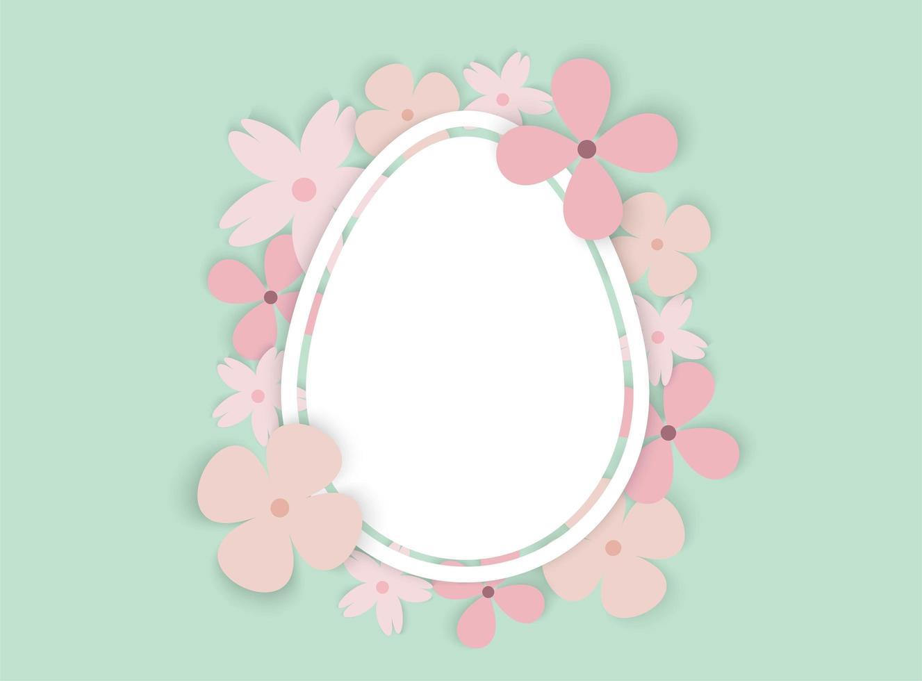 uovo di Pasqua con cornice di fiori vettore