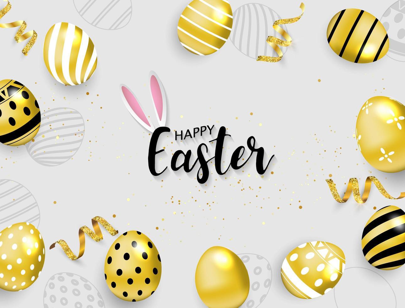 buona Pasqua sfondo uova d'oro e nastri vettore