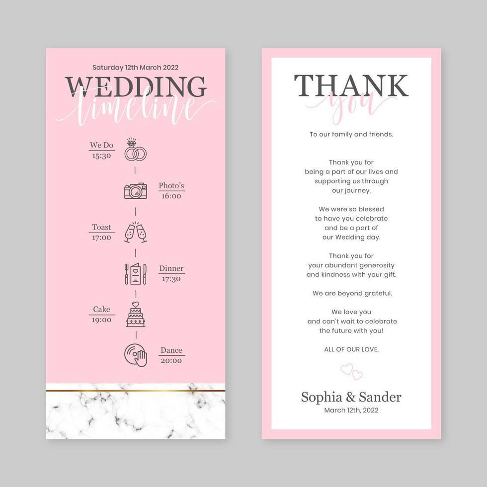 modello verticale della carta di cronologia di nozze vettore