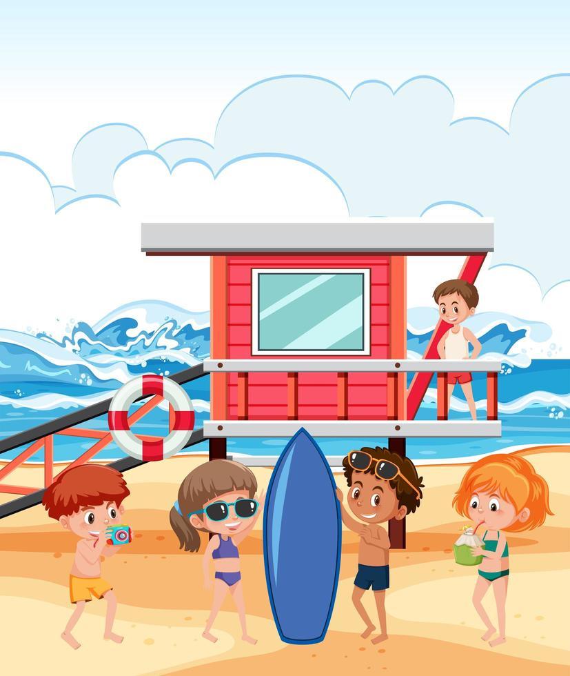 persone in vacanza al mare vettore
