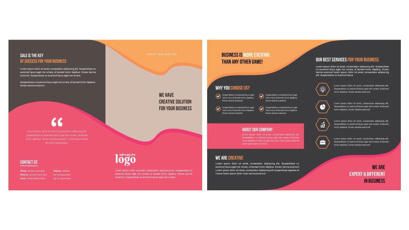 brochure aziendale minimale con forme multicolori vettore