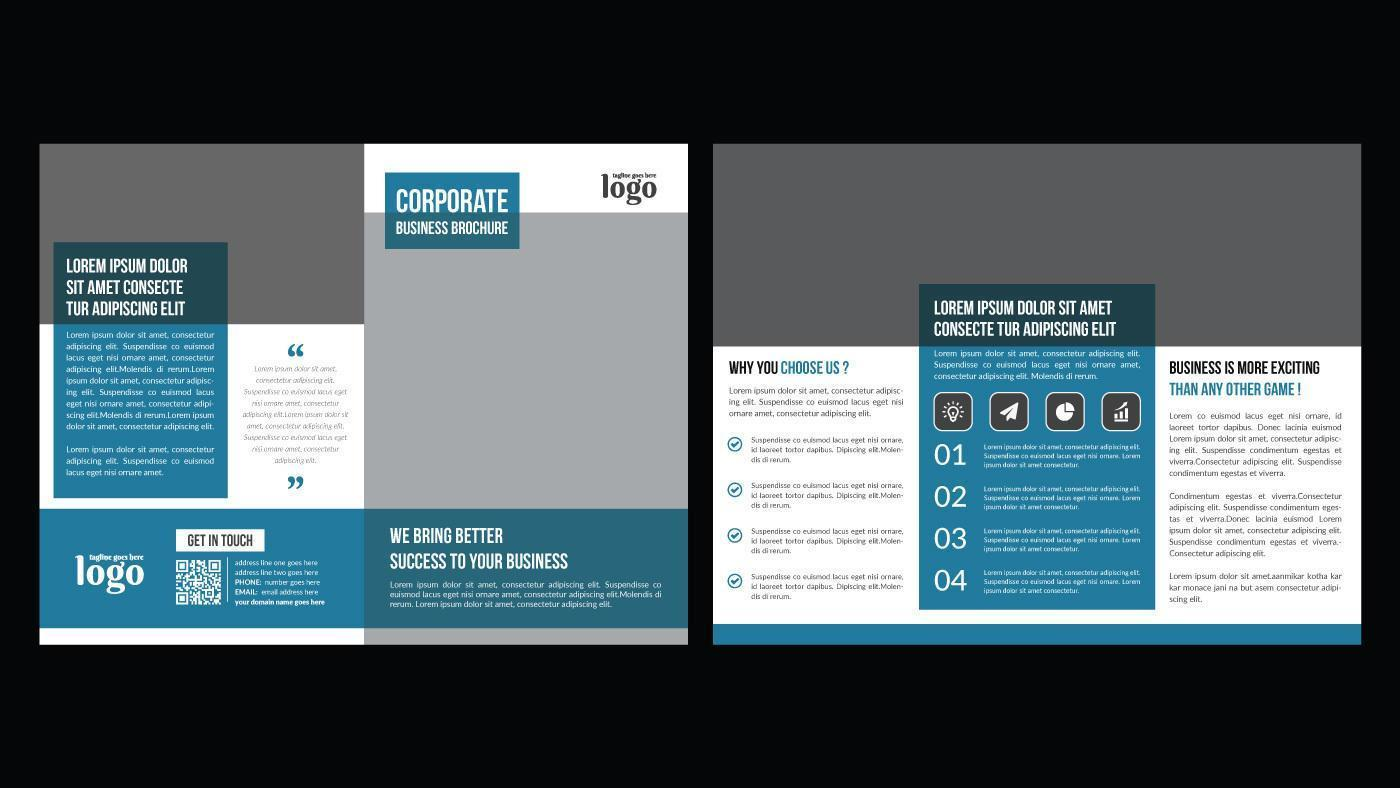 brochure blu e grigia a doppia piega per uso professionale vettore