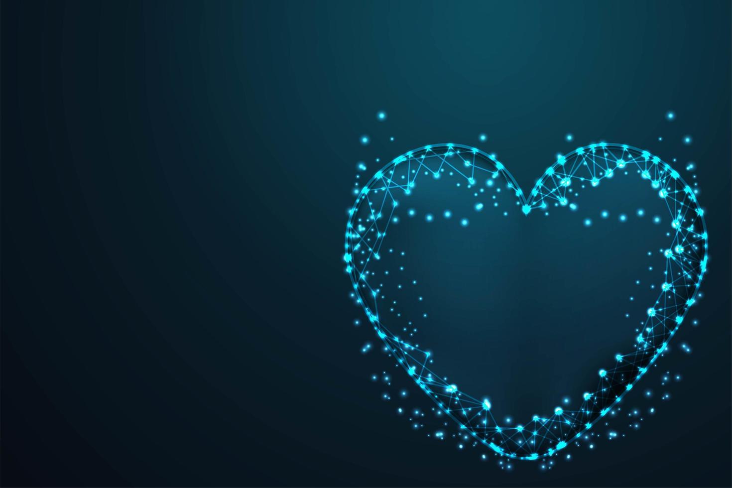maglia metallica poligonale a cuore vettore