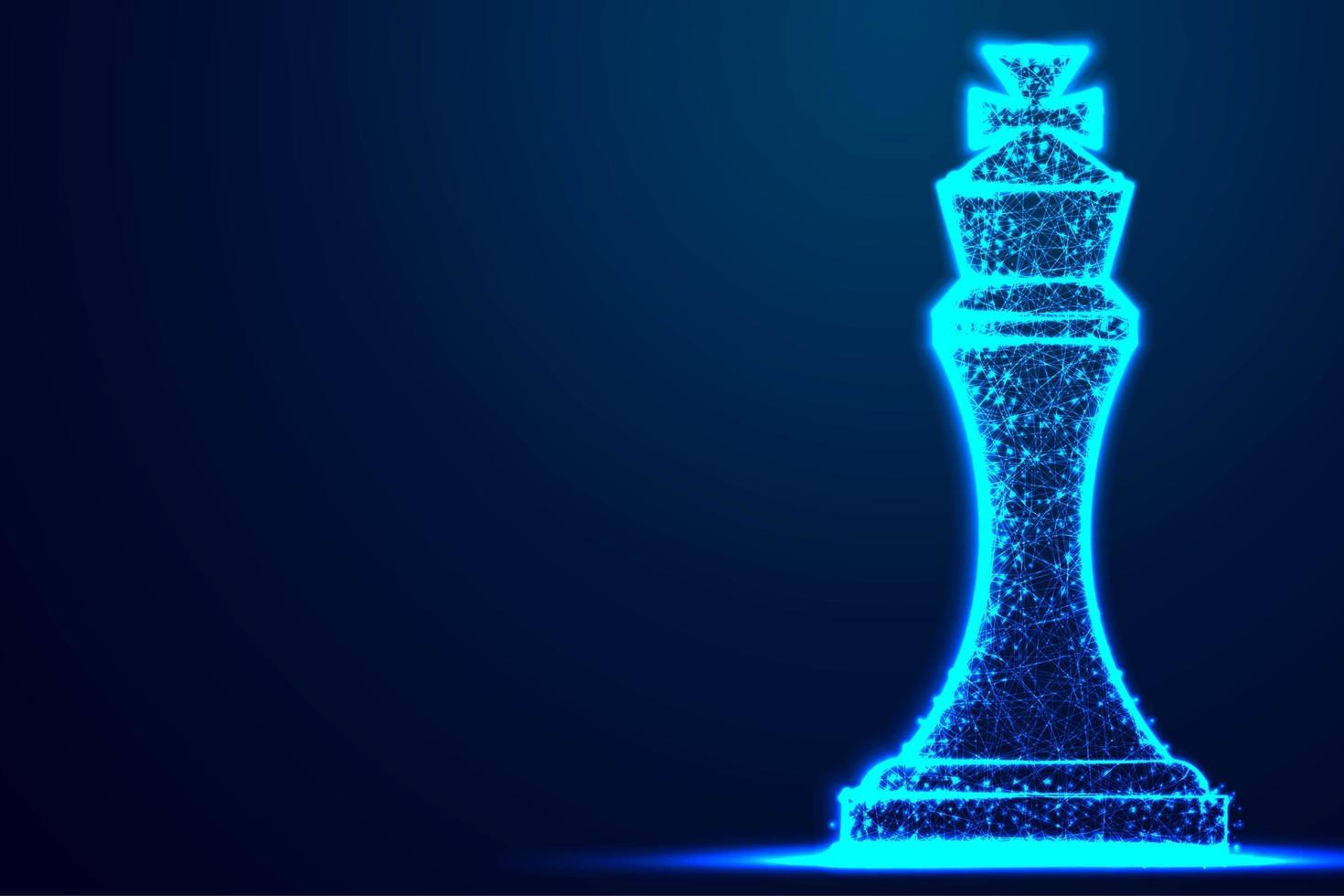 struttura del telaio blu poligono wireframe re degli scacchi vettore