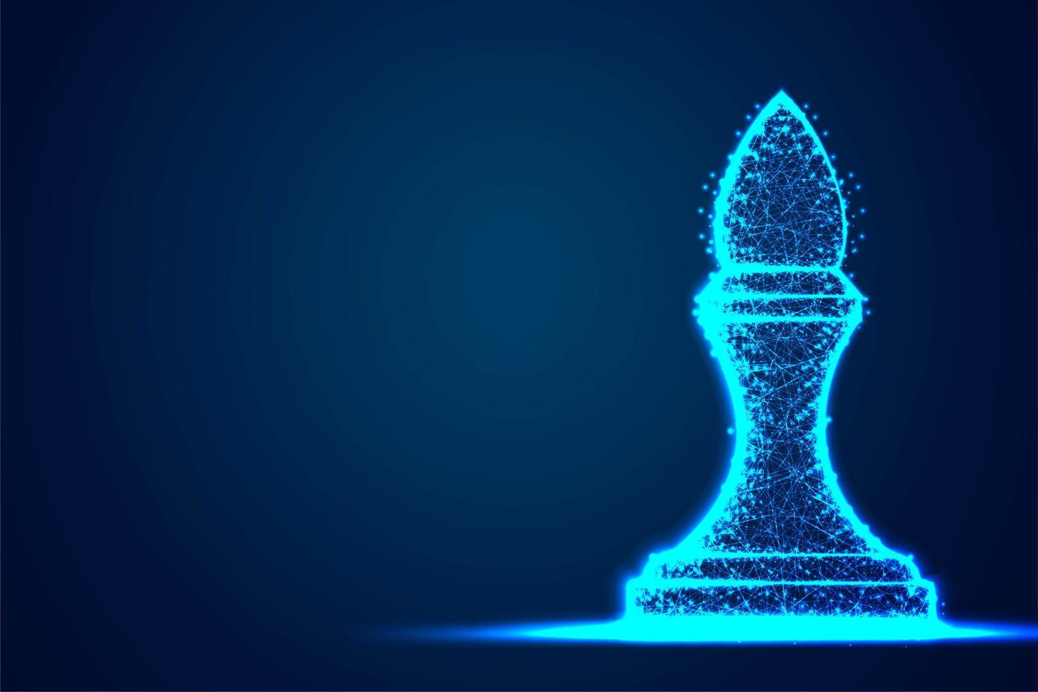 struttura del telaio blu poligono filo metallico vescovo scacchi vettore