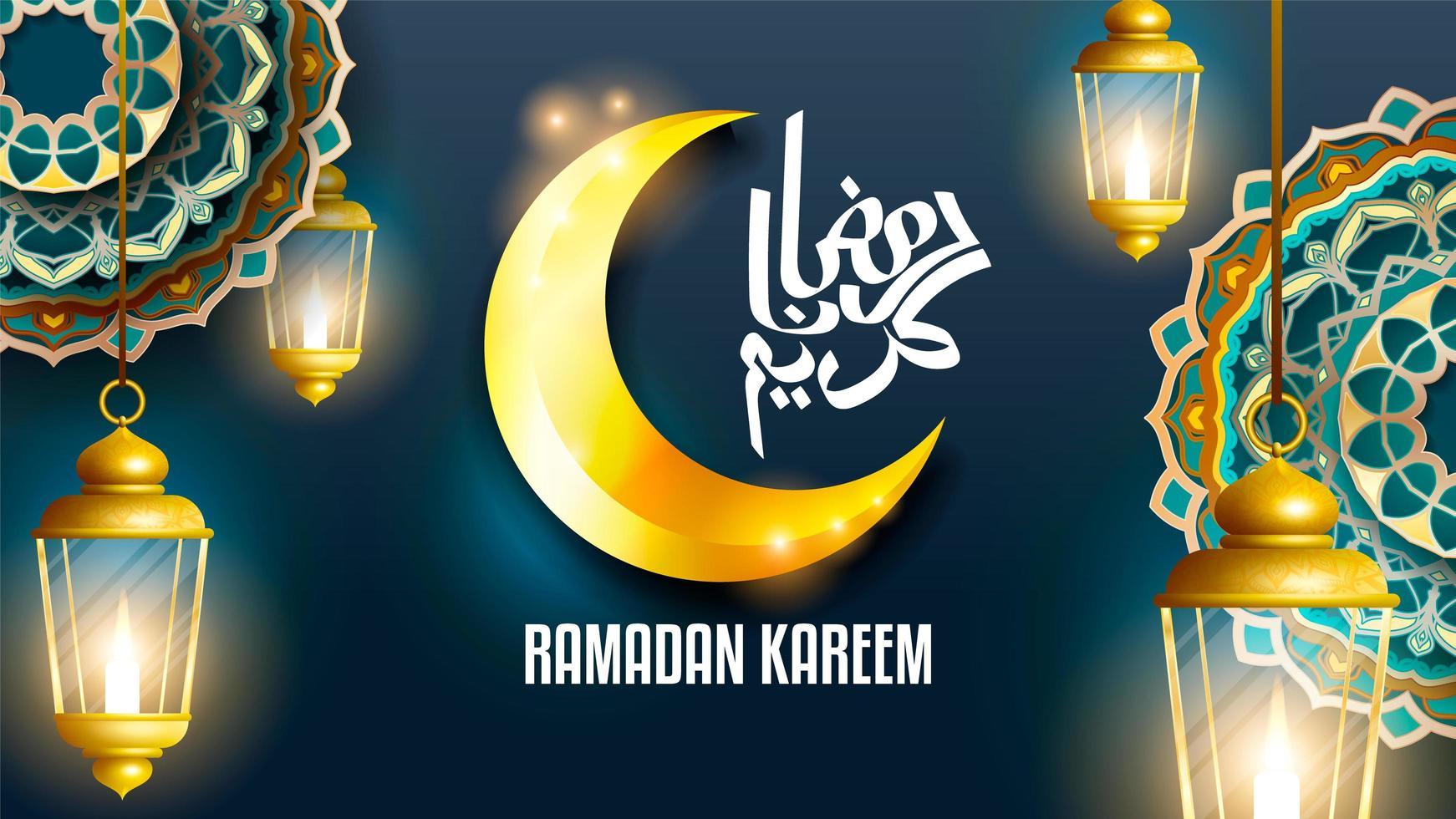 Priorità bassa della lanterna di Ramadan Kareem vettore