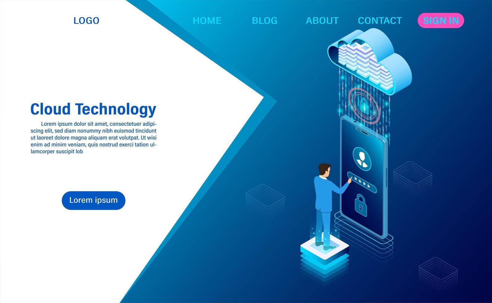 concetto moderno di tecnologia cloud vettore