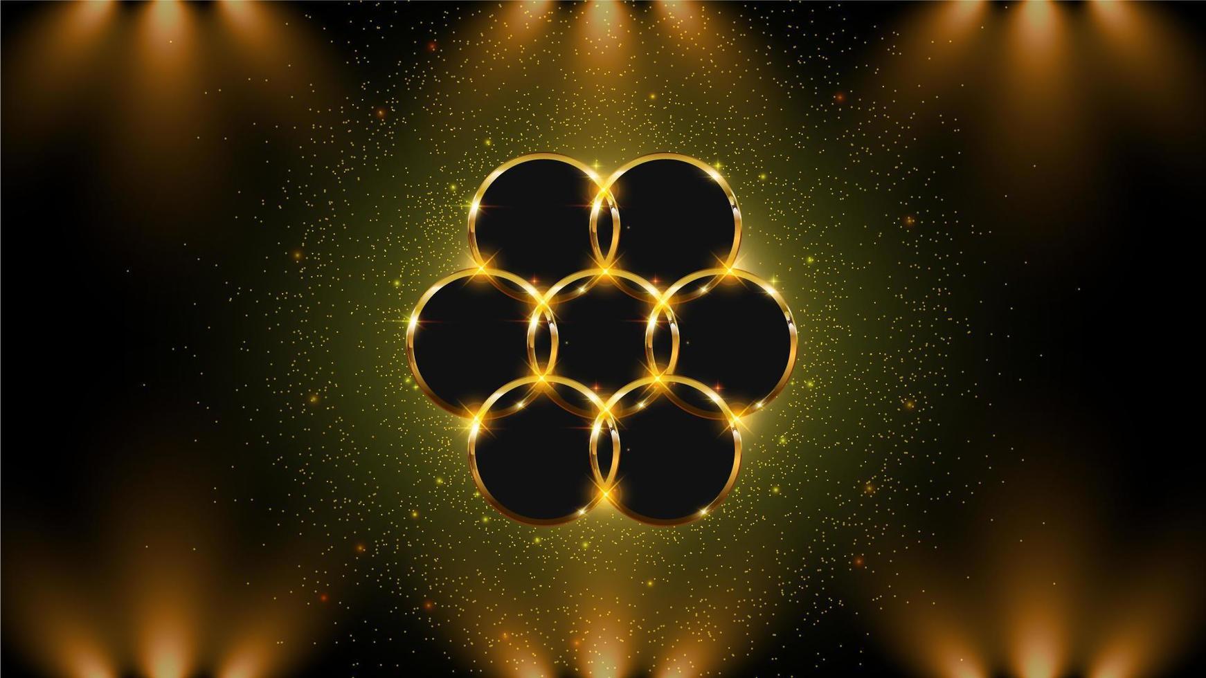 sfondo cerchio dorato con luci vettore