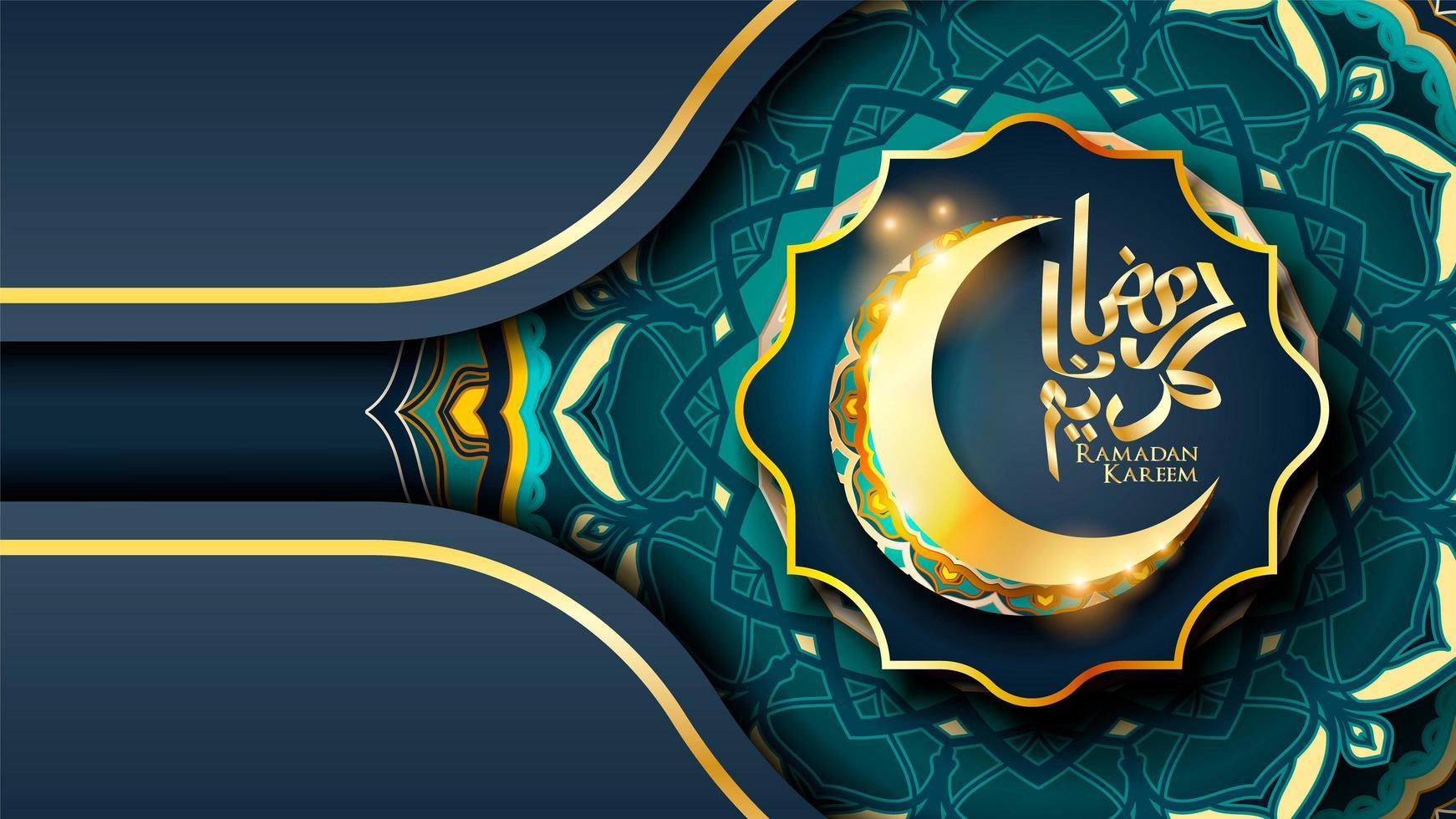 ramadan kareem design blu islamico con falce di luna vettore