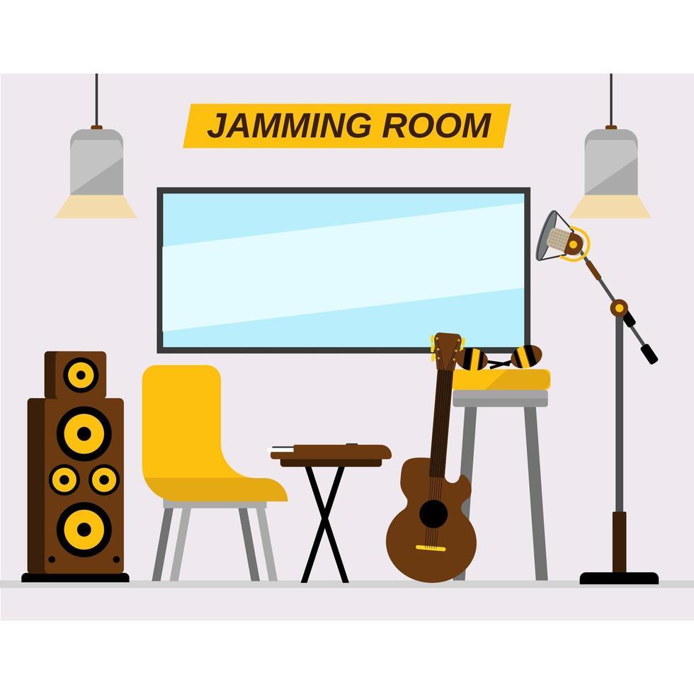 sala jamming con strumenti vettore