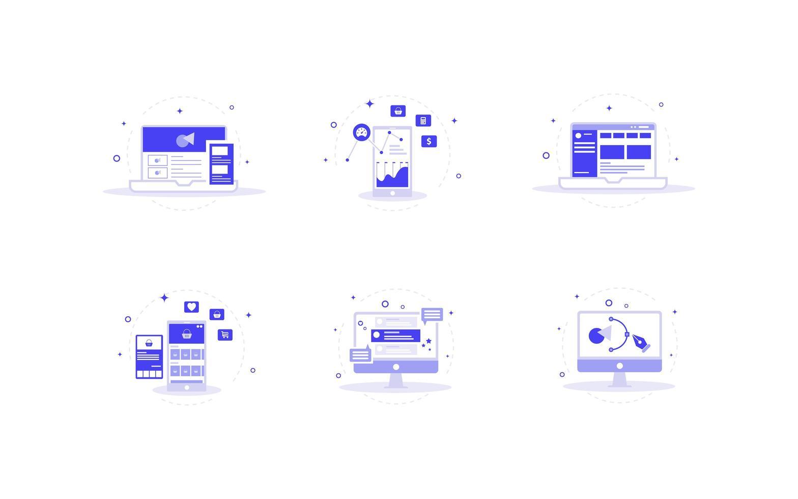 set di icone del sito Web viola vettore