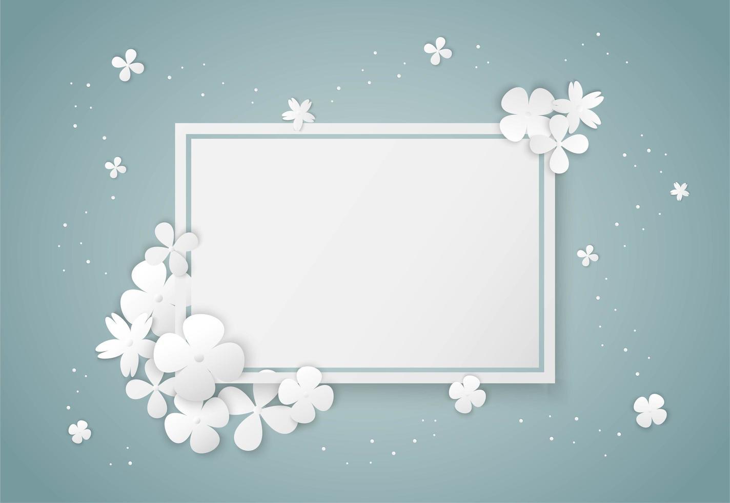 cornice vuota di carta fiori bianchi vettore