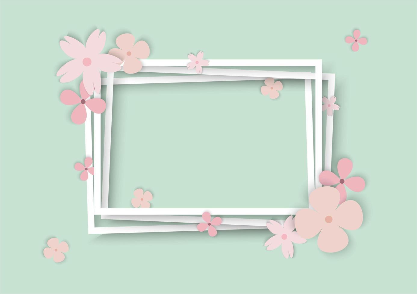 contorno di cornice bianca fiori pastello vettore