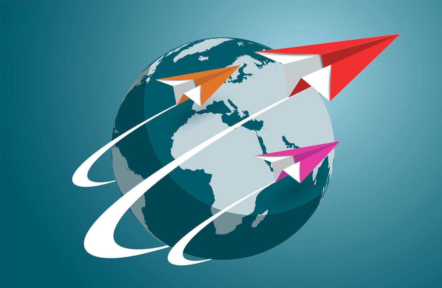 aerei di carta che volano intorno al mondo vettore
