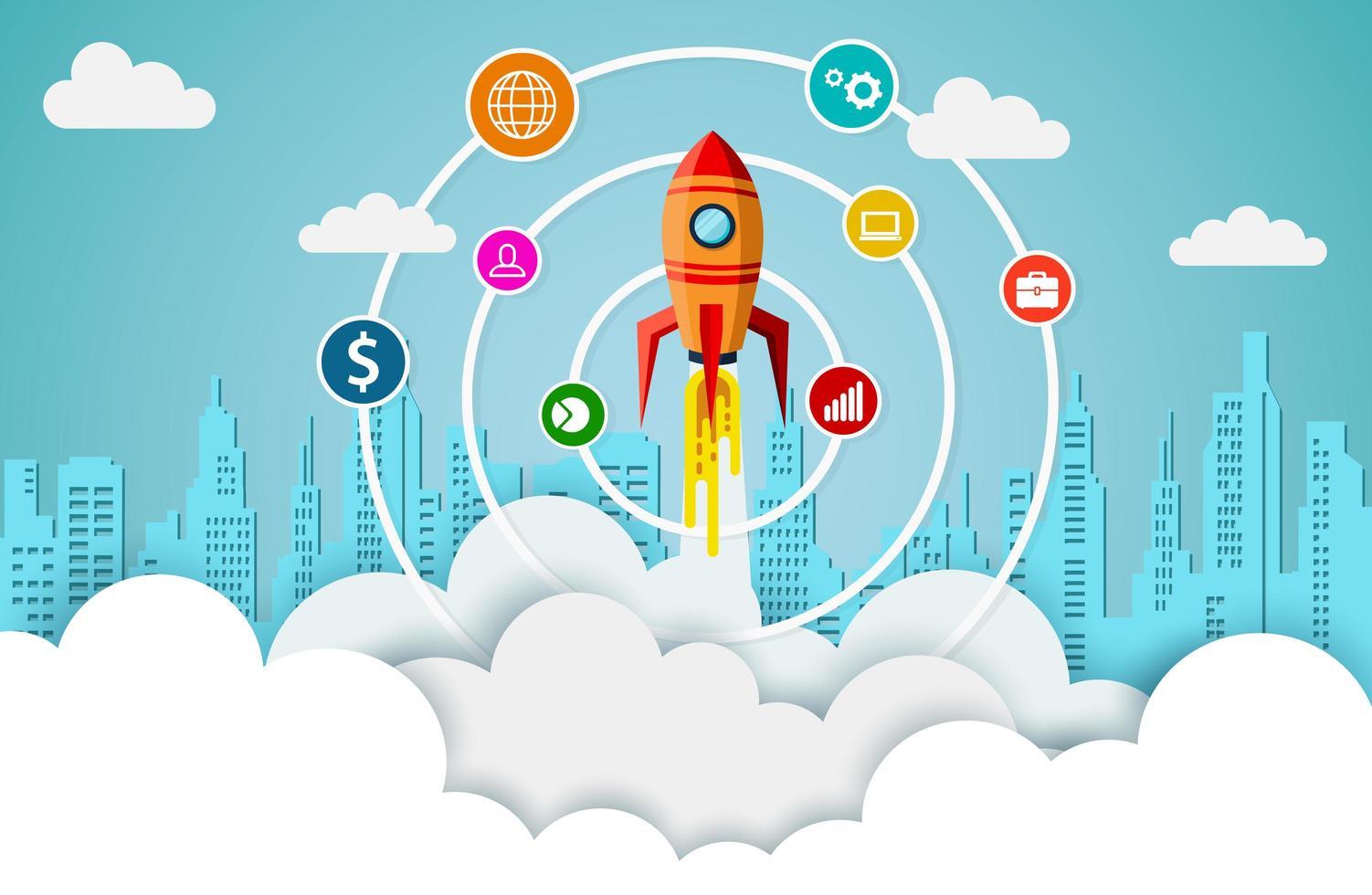 navetta spaziale con icone di affari nel cielo vettore