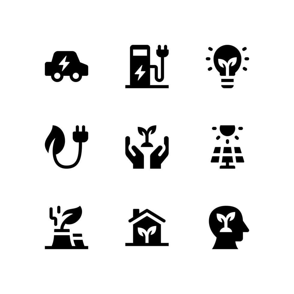 icone del glifo ecologia vettore