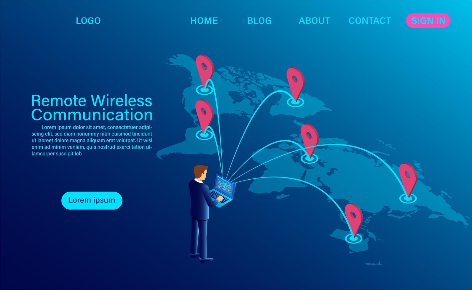 progettazione di comunicazione remota senza fili vettore