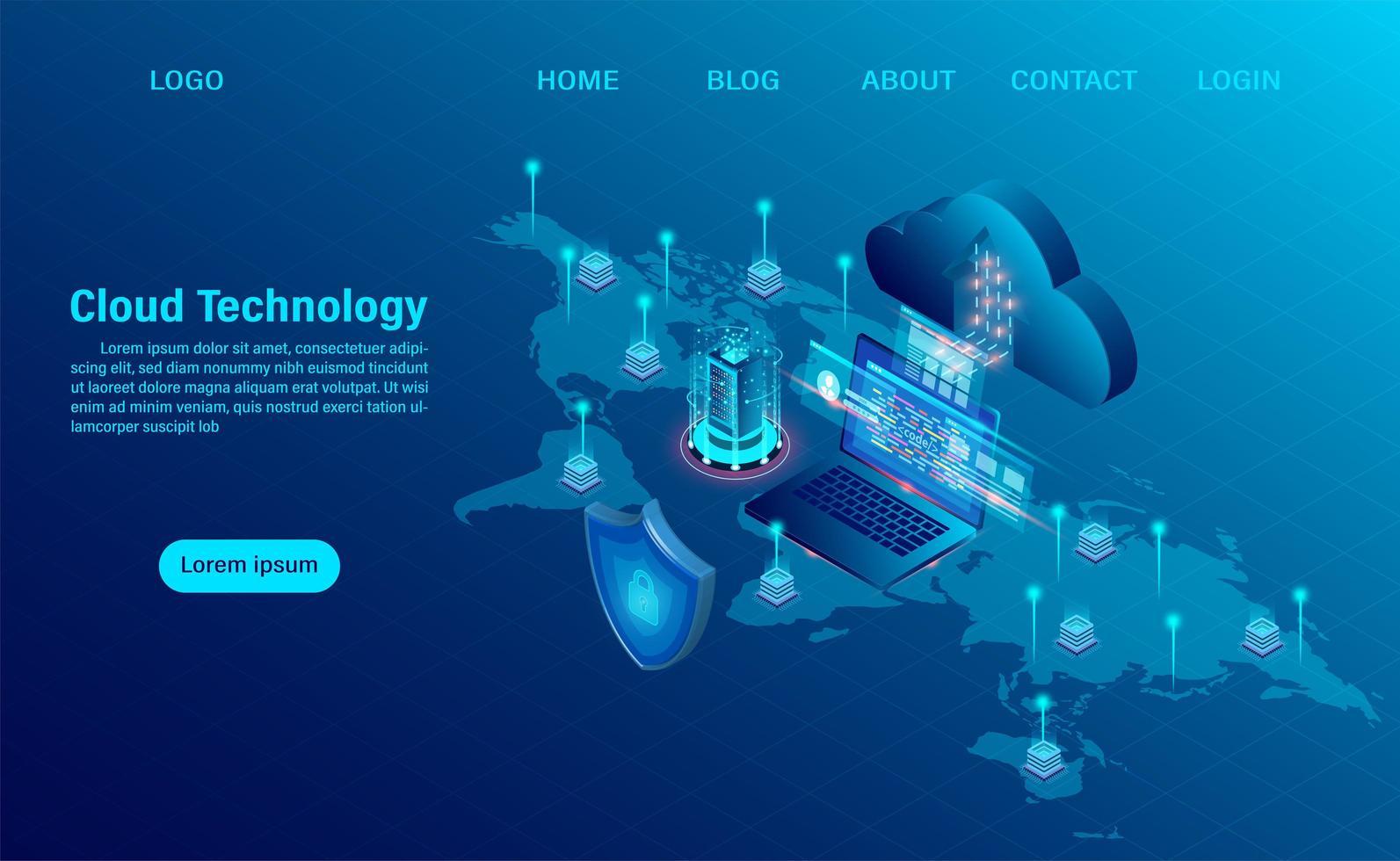 cloud computing design blu sulla mappa vettore