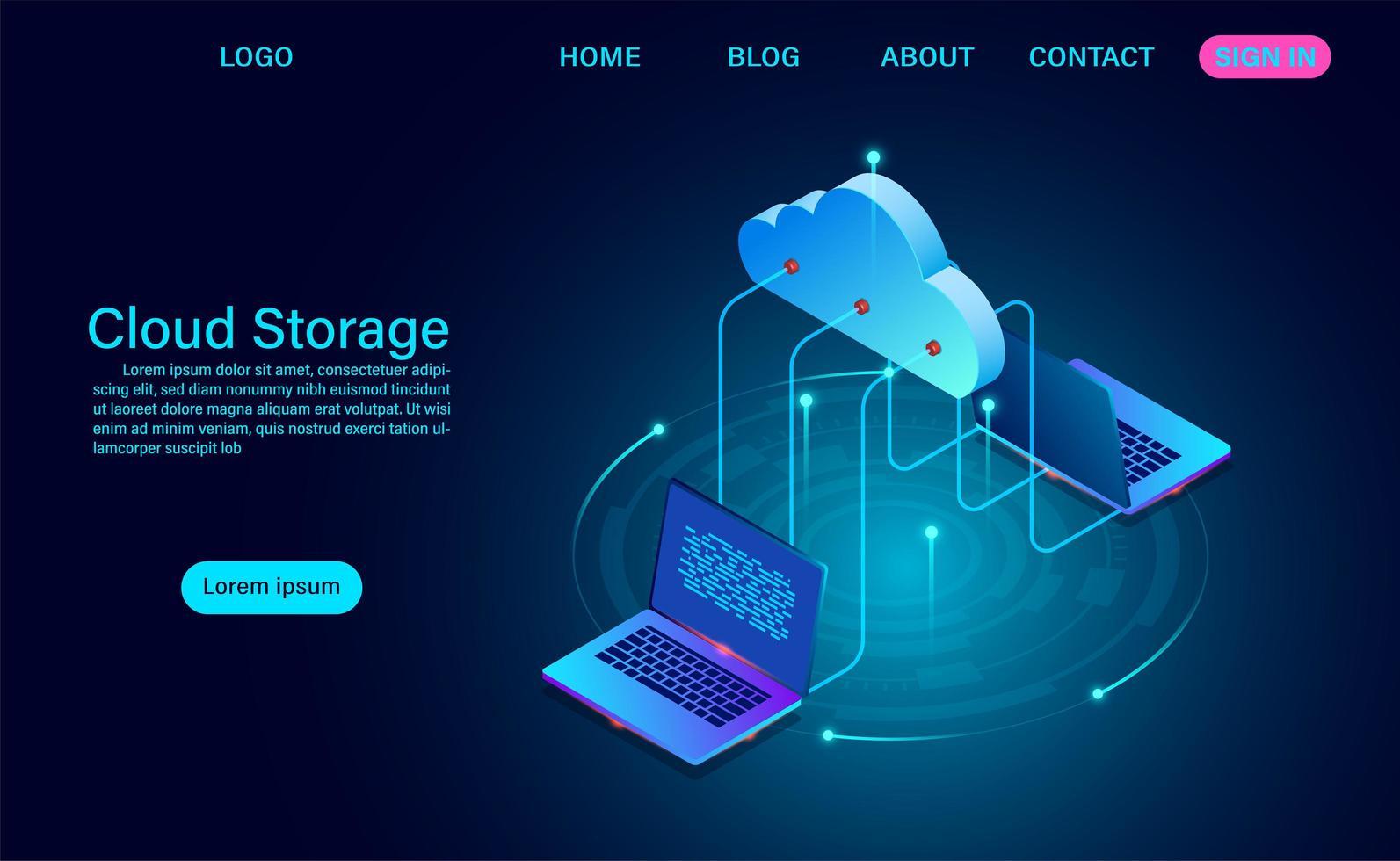 pagina di destinazione di archiviazione cloud per laptop vettore