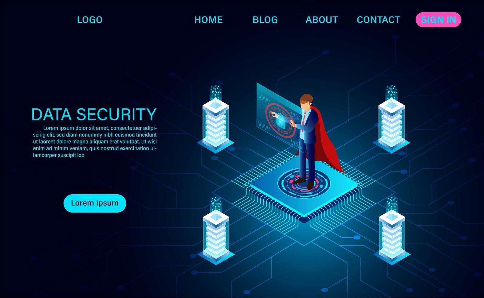 concetto di sicurezza dei dati con l'uomo in mantello rosso vettore