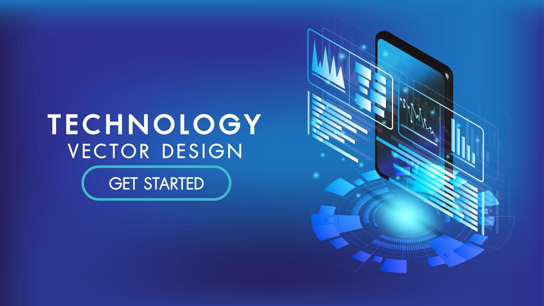 Smart Phone isometrico o interfaccia 3d tablet vettore