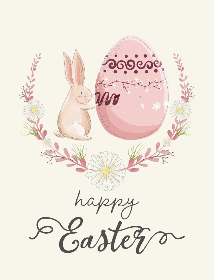 carta dell'acquerello con l'uovo della pittura del coniglio in corona vettore