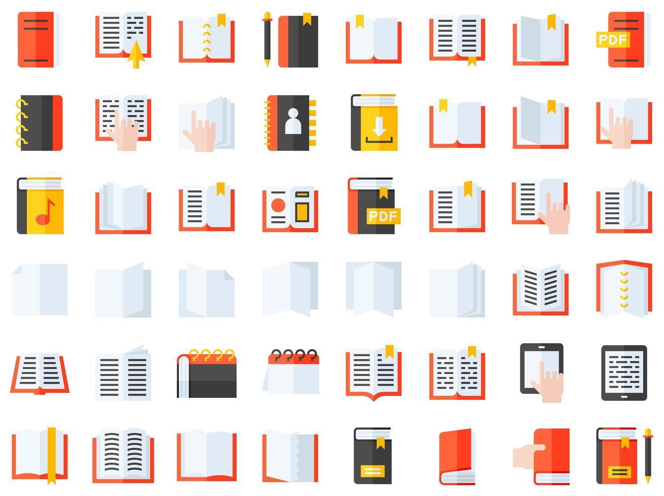 set di icone di libri e quaderni vettore