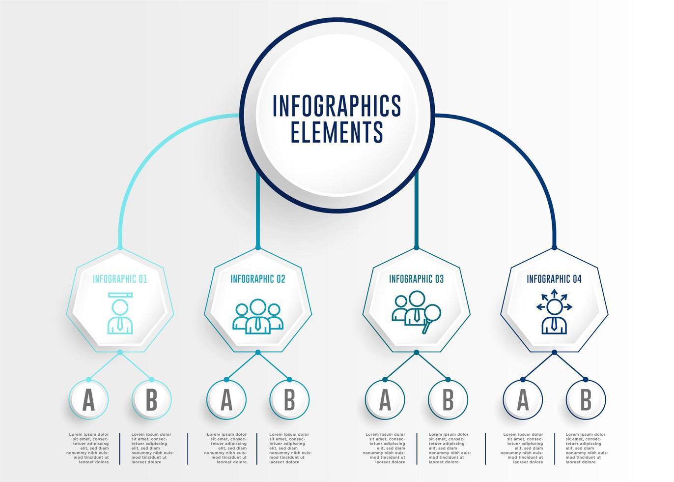 infografica con cerchio ed esagono collegati vettore