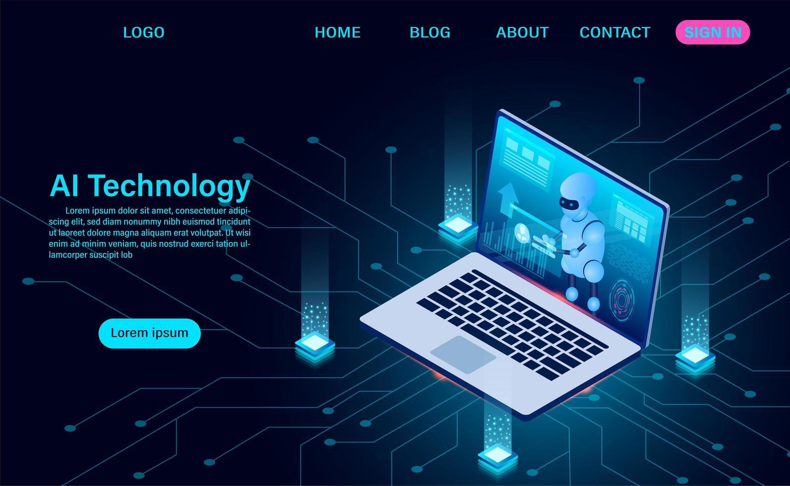tecnologia ai robot sullo schermo del laptop vettore