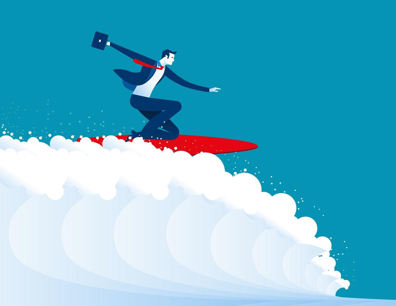 uomini d'affari che navigano in cima all'onda vettore