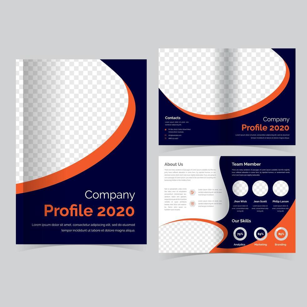 modello di brochure pieghevole arancione e blu vettore