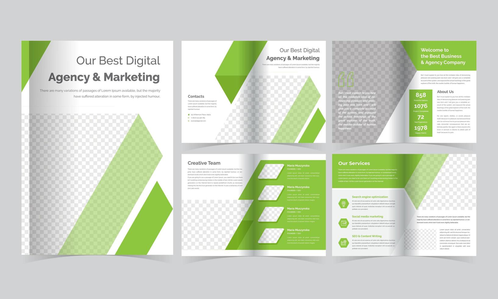modello di brochure a strisce diagonali verde vettore