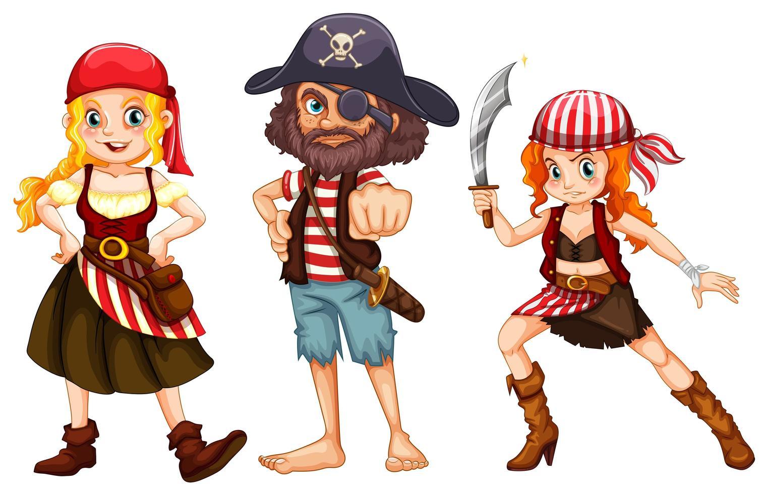 tre personaggi pirata su sfondo bianco vettore