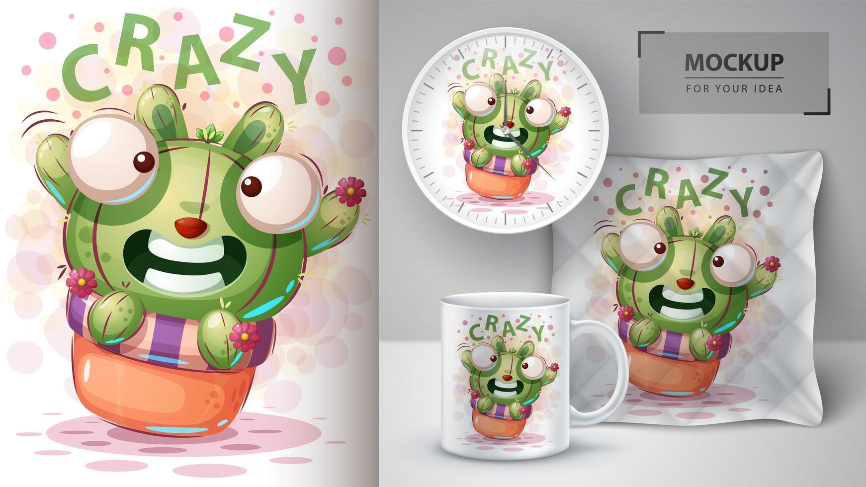 disegno di cactus coniglio pazzo vettore