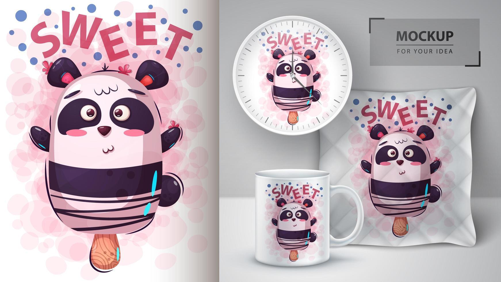 disegno della barra di gelato dell'orso panda vettore