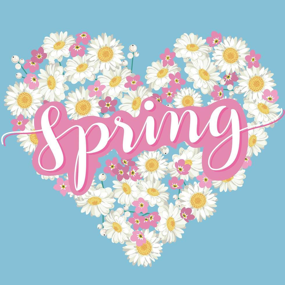 cuore floreale con lettering calligrafico primavera vettore