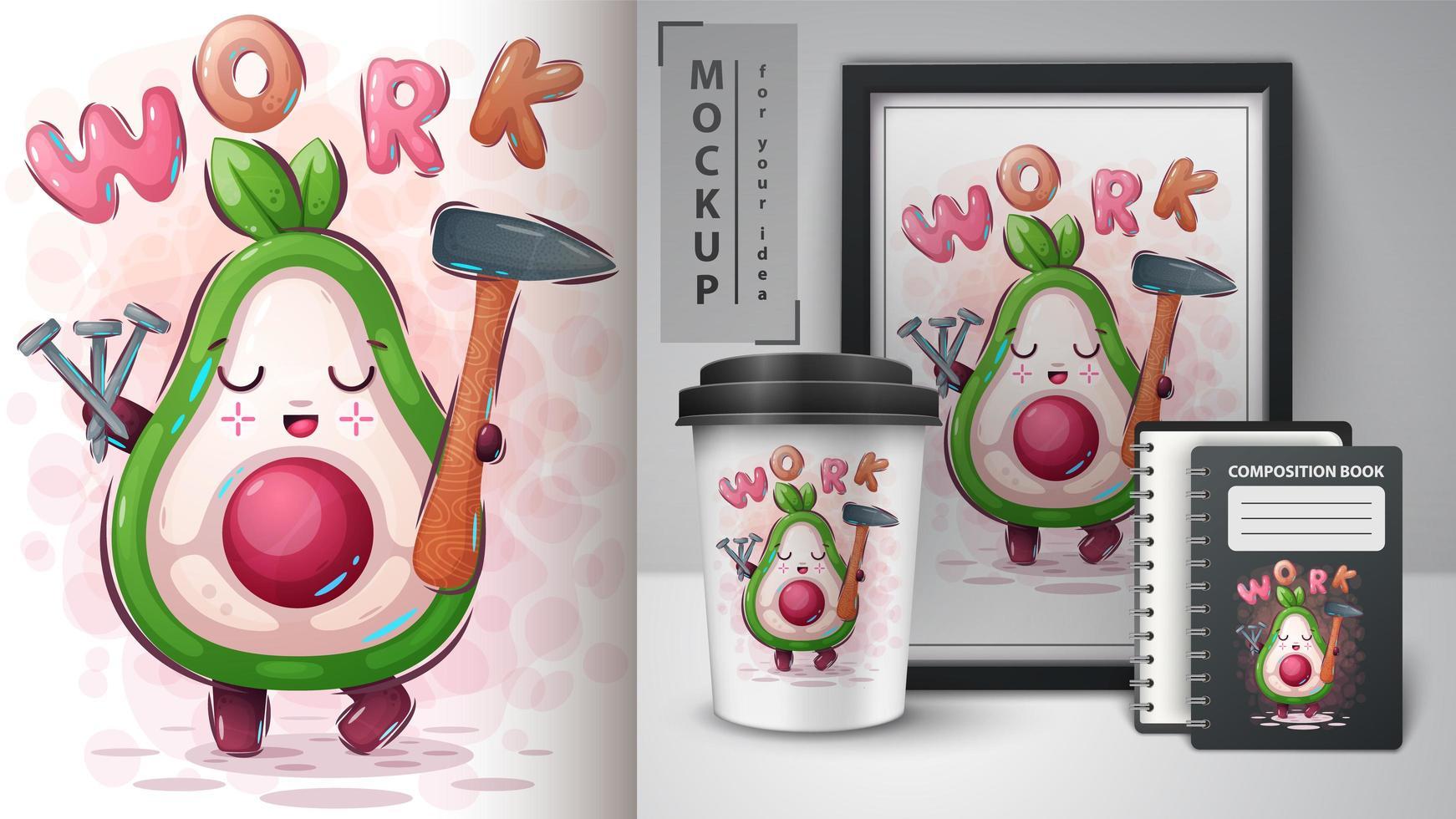 lavoro poster e merchandising di avocado vettore