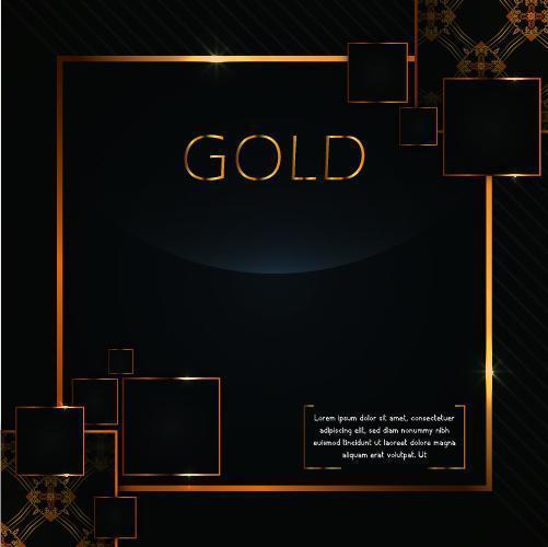 cornici quadrate dorate di lusso sul nero vettore