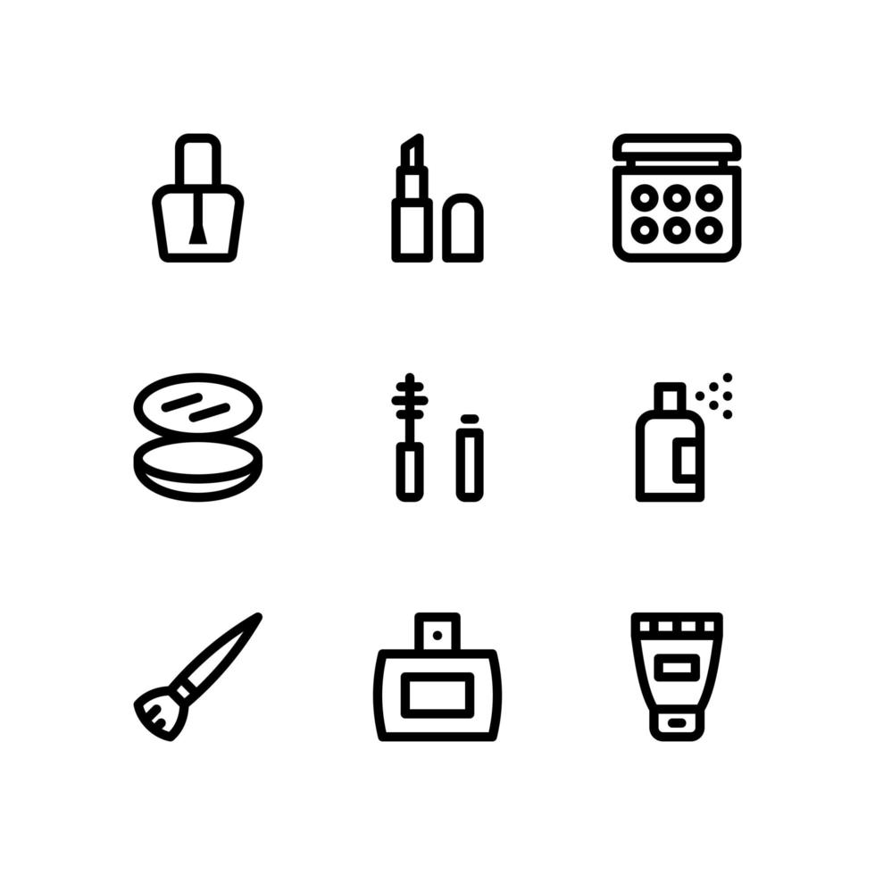 icone di linea di bellezza con rossetto, profumo e altro ancora vettore