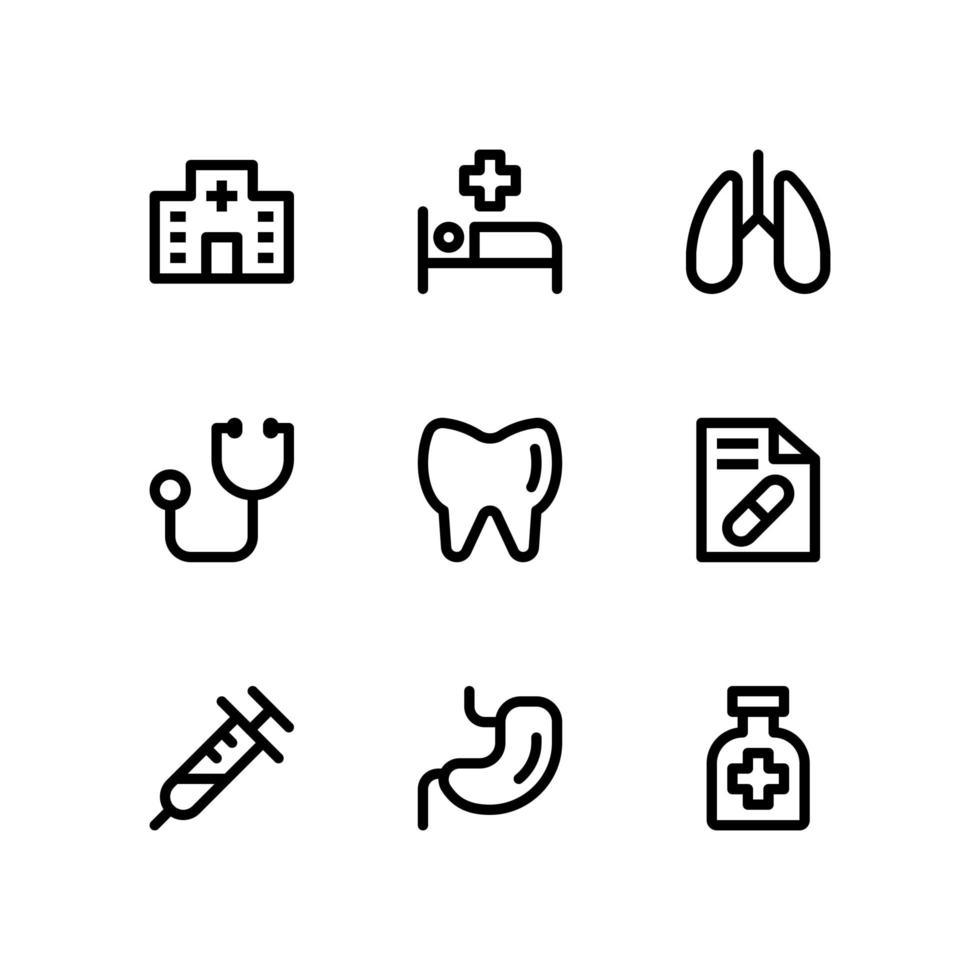 icone di linea medica con stetoscopio, stomaco e altro ancora vettore