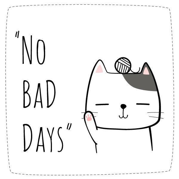 doodle di gatto del fumetto senza citazione di giorni cattivi vettore