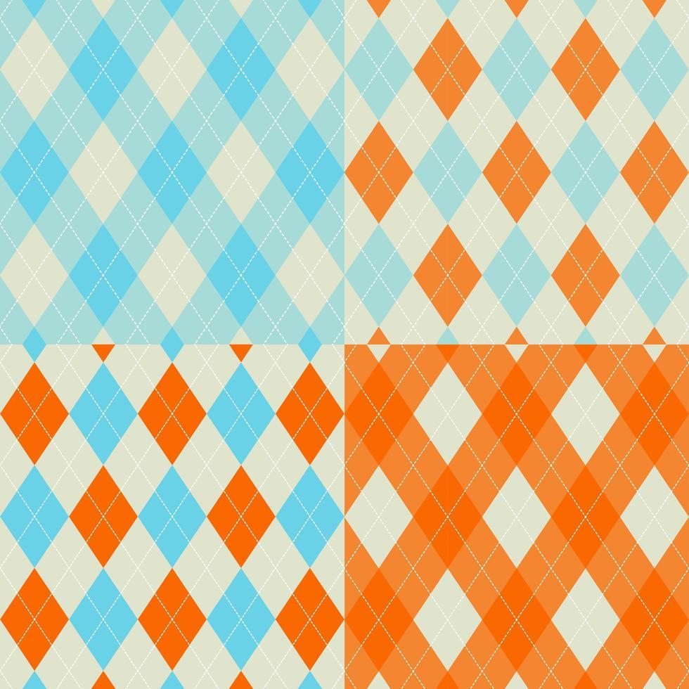set di pattern argyle senza soluzione di continuità arancione e blu vettore