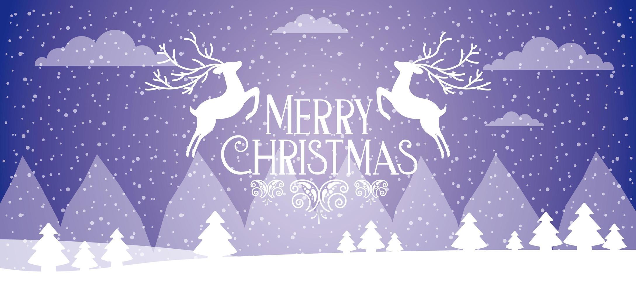 banner di buon Natale con due cervi bianchi che salta vettore
